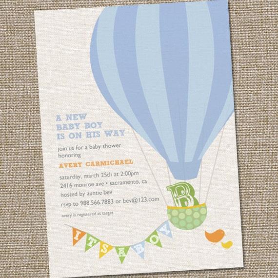 Hot Air Balloon Baby Shower Invitation Hot Air Balloon Etsy