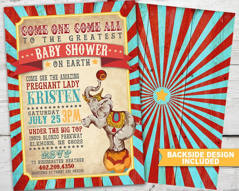 Vintage Circus Baby Shower Circus Baby Shower Invitation Circus Baby Shower Invite Vintage Circus Invitation Vintage Circus Themed Party