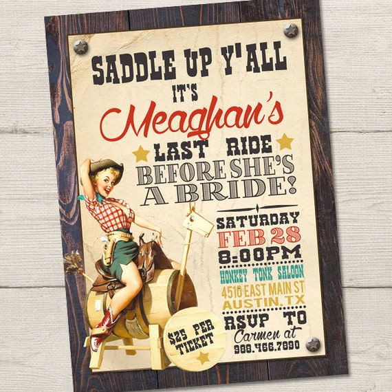 Vintage cowgirl invitation birthday party