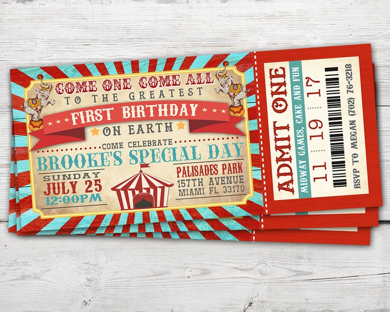 Circus Ticket Invitation Vintage