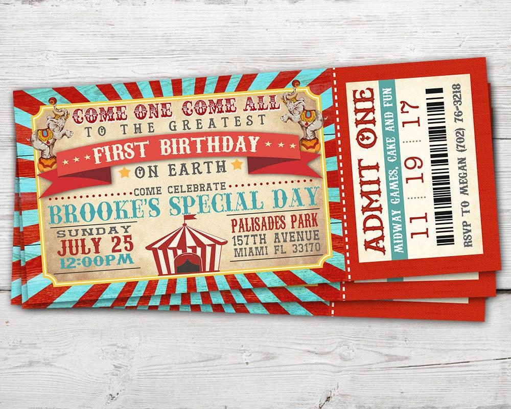 Circus Ticket Invitation Vintage Circus Invitation Vintage | Etsy