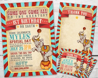 Vintage Circus Invitation, Vintage Circus Party, Vintage Circus Theme, Vintage Carnival Invitation, Circus Birthday Invitation, PRINTABLE