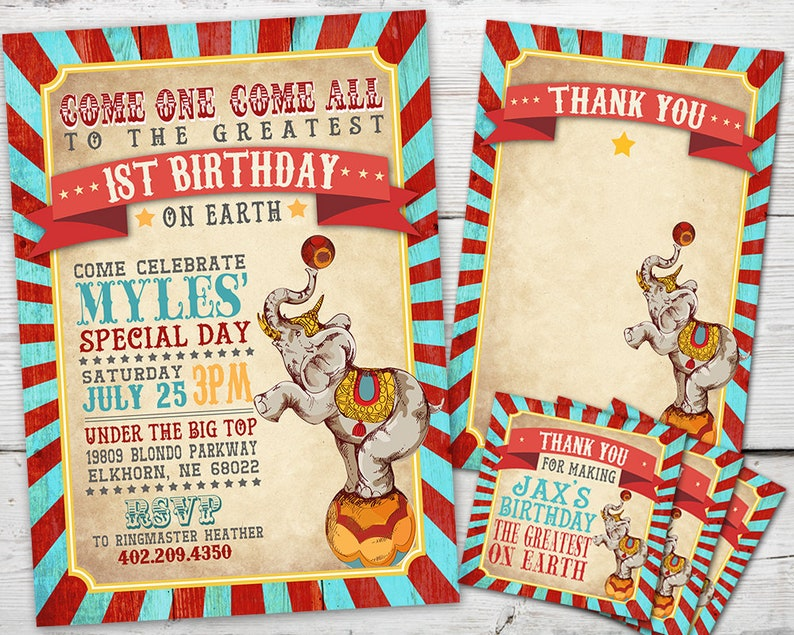 Circus Invitation Set for a Circus Birthday Party or Carnival image 0