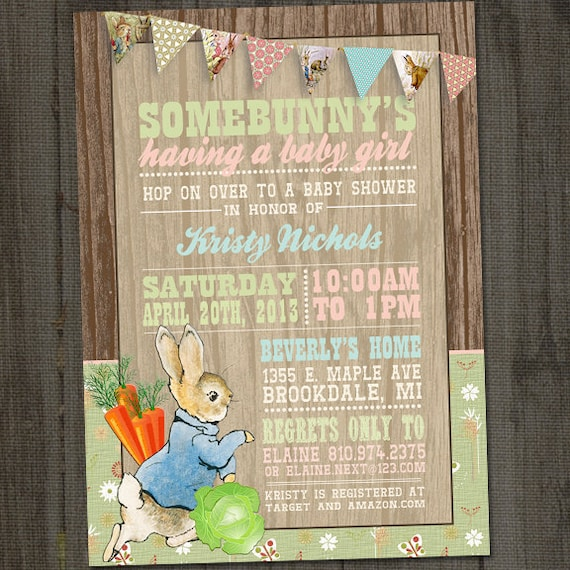 Peter Rabbit Invitation Peter Rabbit Baby Shower Bunny Baby Etsy