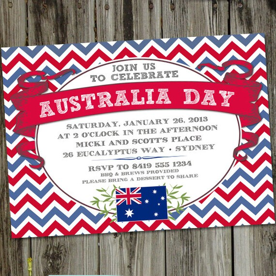 Items Similar To Australia Day PRINTABLE Party Invitation