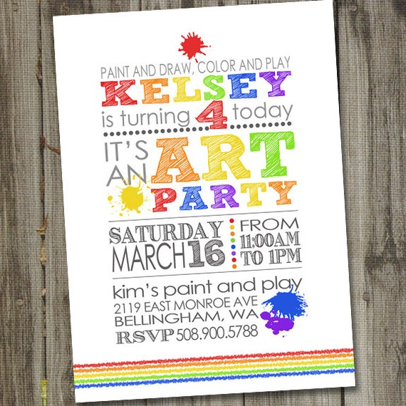art party invitation art party invites art birthday party