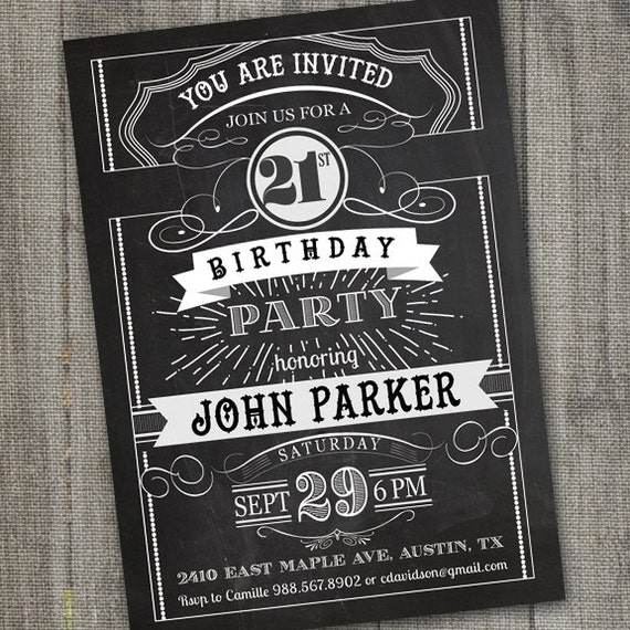 Chalkboard Birthday Invitation For Adult 21st Guys Male 18th Boy