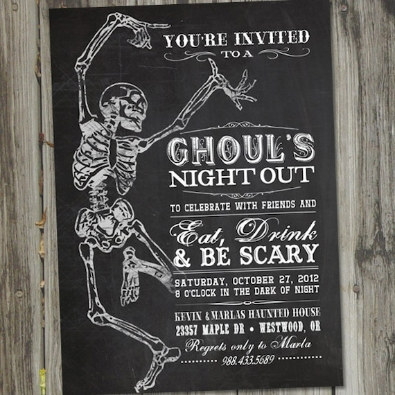 halloween party invitation printable ghouls night out etsy