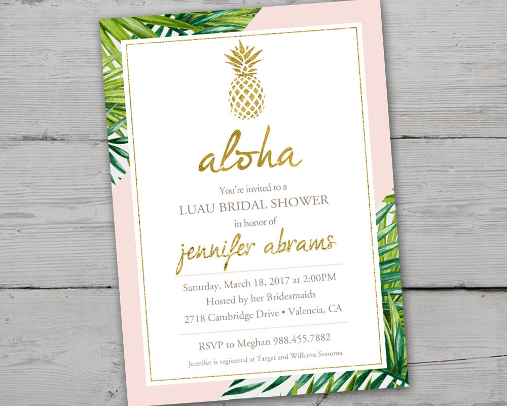 Gold pineapple bridal shower invitation printable gold etsy zoom filmwisefo