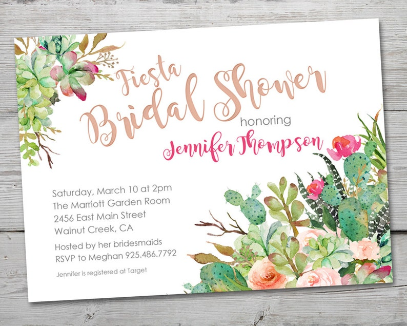 e84ead37d499 Fiesta Watercolor Cactus Bridal Shower Invitation PRINTABLE