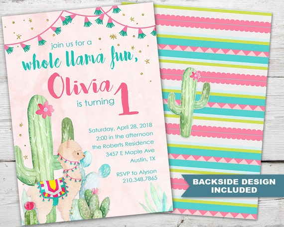 Llama First Birthday Invitation