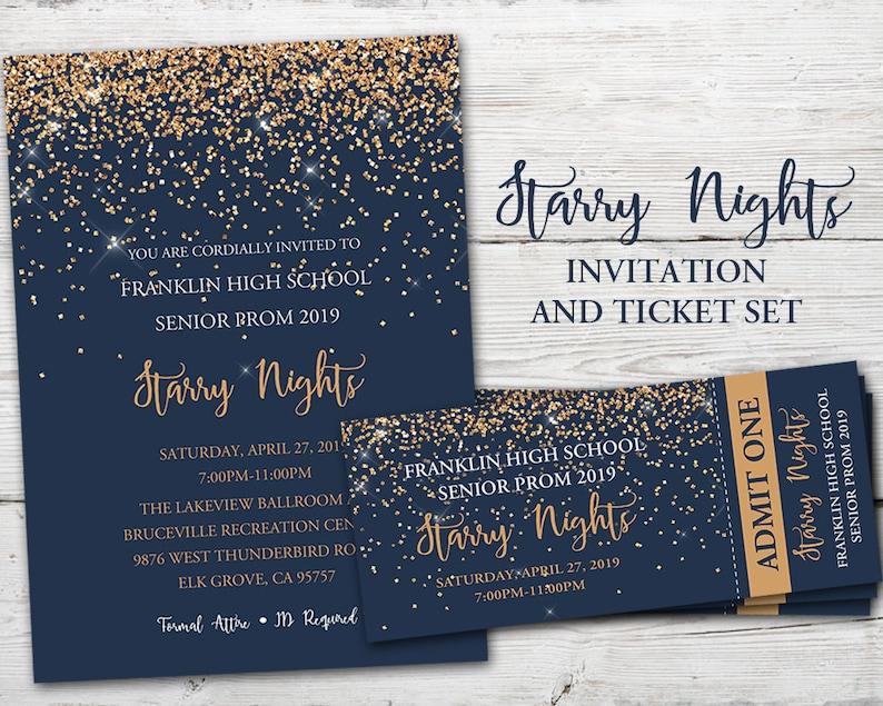5de1f645b5df0 Starry Nights Invitation, Starry Nights Theme, Prom Invitations and  Tickets, Prom Invitation Starry Night, Prom Invitation PRINTABLE