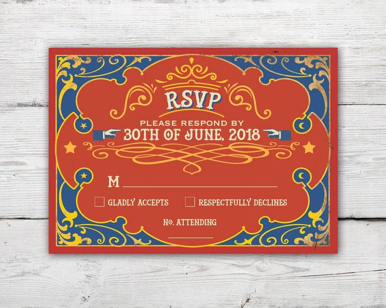 Circus Wedding Invitation Set with Invitation and RSVP Card Antique Wedding Invitations Circus Wedding Carnival Wedding Invitation Set