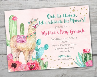 Mothers Day Invitation Invitation, Mother's Day Invitation, Llama Mothers Day, Llama Mama Baby Shower, Llama Party Invitation, Llama Invite