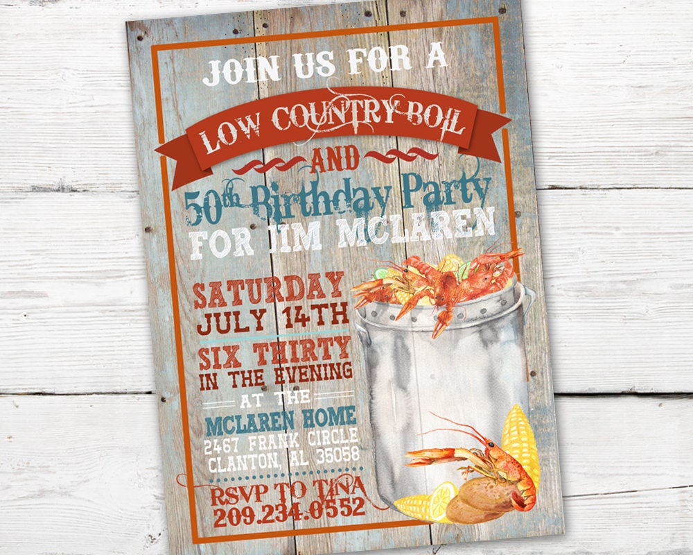 This is an image of Tactueux Crawfish Boil Invitations Free Printable