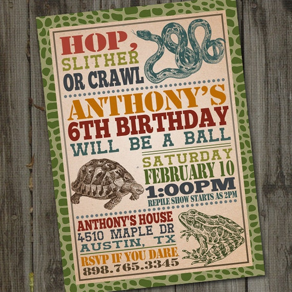Reptile Birthday Invitation Party Snake PRINTABLE