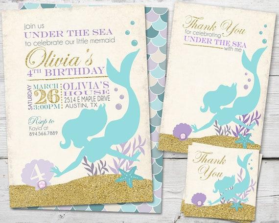 Mermaid Invitation Party Birthday Glitter PRINTABLE Invite