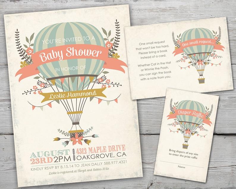 Hot Air Balloon Baby Shower Invitation Hot Air Balloon Baby image 0