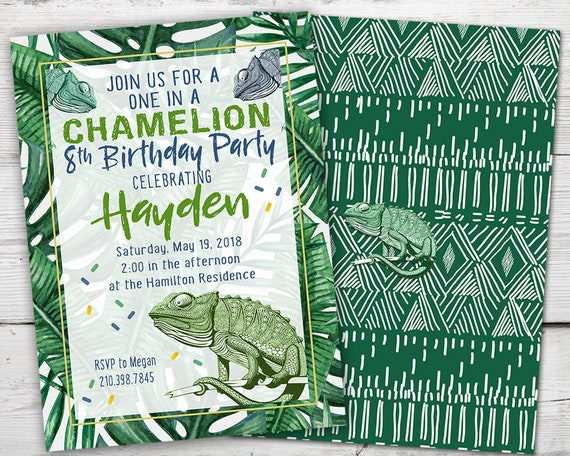 Chameleon Invitation Birthday Party Reptile Invite PRINTABLE