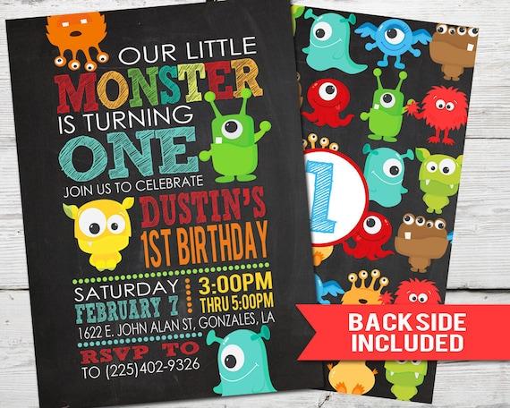 Monsters Birthday Invitation Monsters Invitation Little Monsters