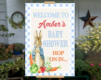 Peter Rabbit Baby Shower Welcome Sign, PRINTABLE Peter Rabbit Baby Shower Decor, Peter Rabbit Baby Shower Sign Peter Rabbit Party Decoration