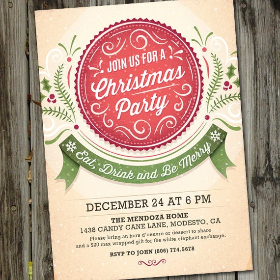 merry antique christmas christmas party invitation christmas