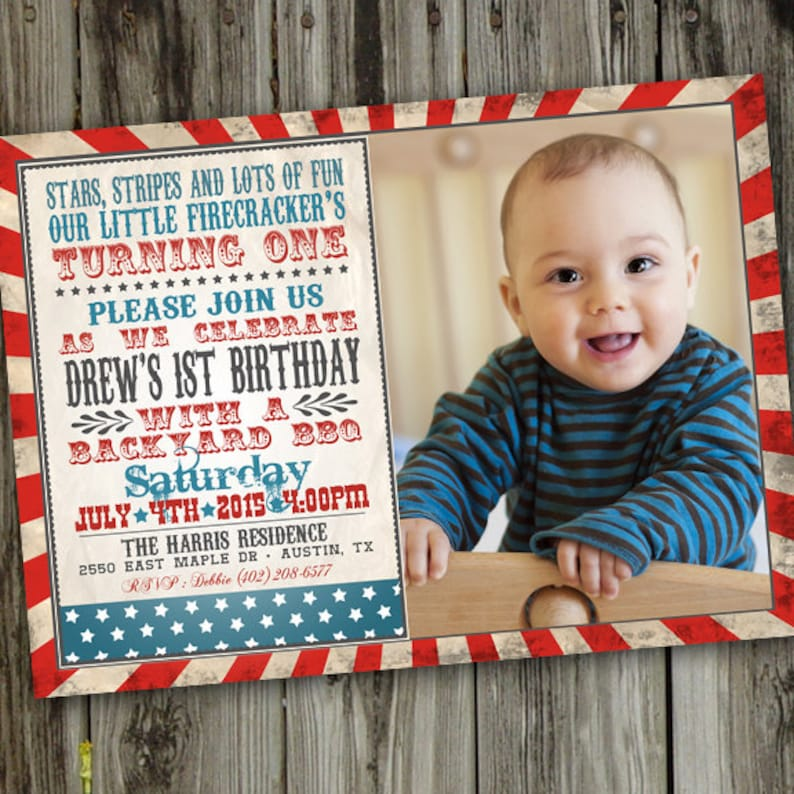 Fourth Of July First Birthday Invitations 4th
