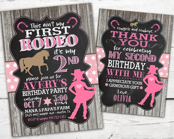 First Rodeo Birthday Invitation Cowgirl Horse Party DIGITAL This Aint My