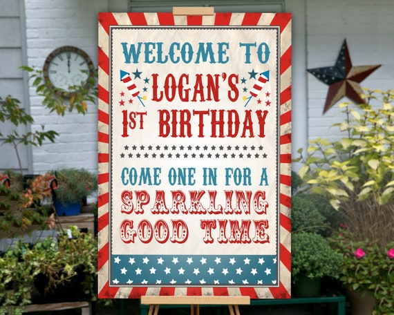 4th Of July Birthday Party Poster Decoration Sign PRINTABLE Fourth Little Firecracker