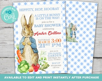 Peter Rabbit Baby Shower Invitation, Peter Rabbit Book Request and Diaper Raffle Invitation set, Instantly Editable with Corjl