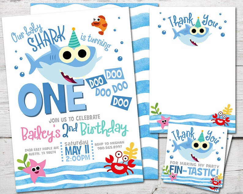 Baby Shark Invitation For A Baby Shark Birthday Party Printable Baby Shark Party Invitation Baby Shark Party Supplies Baby Shark Invite