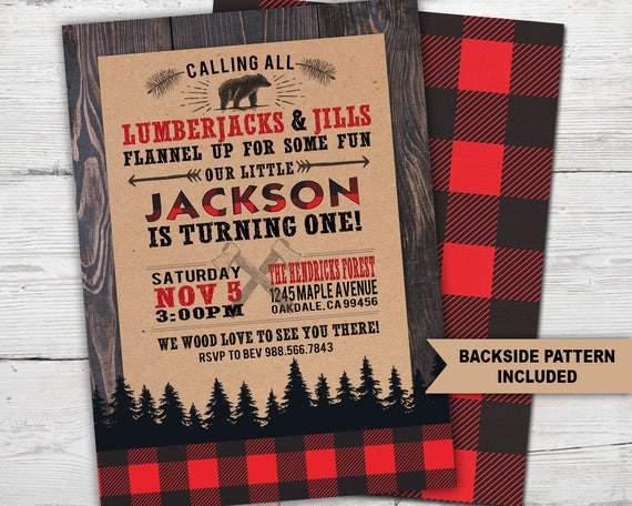 Lumberjack Birthday Invitation, Lumberjack Party, Lumberjack Invitation,  Lumberjack First Birthday, Buffalo Plaid, Lumberjack First Birthday