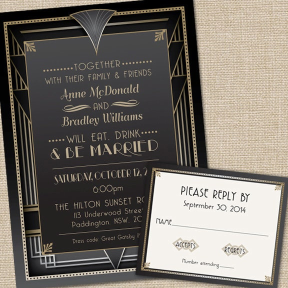 Great Gatsby Wedding Invitations With Rsvp Cards And Etsy