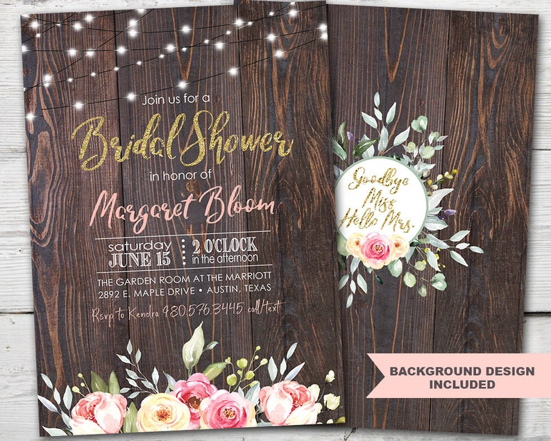 picture regarding Bridal Shower Invitations Printable identified as Rustic Bridal Shower Invitation PRINTABLE, Wooden Bridal Shower Invitation, Rustic Bridal Shower Invitations, Picket Bridal Shower Invite, Floral