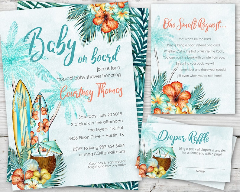 Surfing Baby Shower Invitation Surf Invite Luau Boy PRINTABLE Tropical