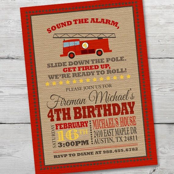 Strażacki Urodziny Zaproszenie Strażacki Zaproszenie Etsy