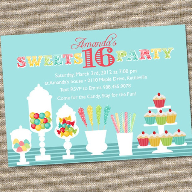 Sweets 16 Birthday Party Invitation Candy Sweet PRINTABLE Celebration 16th