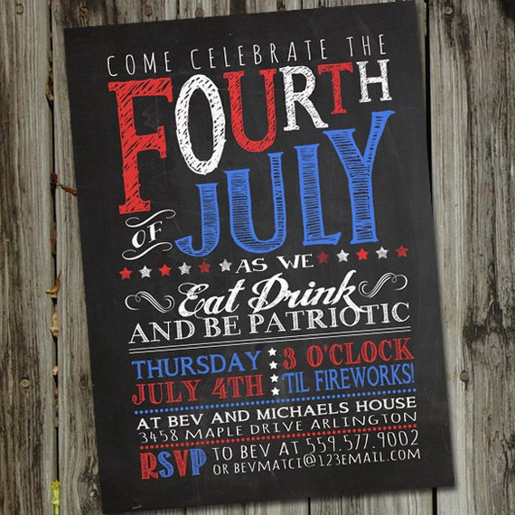 chalkboard fourth of july invitation 4th of july invitation 4th of
