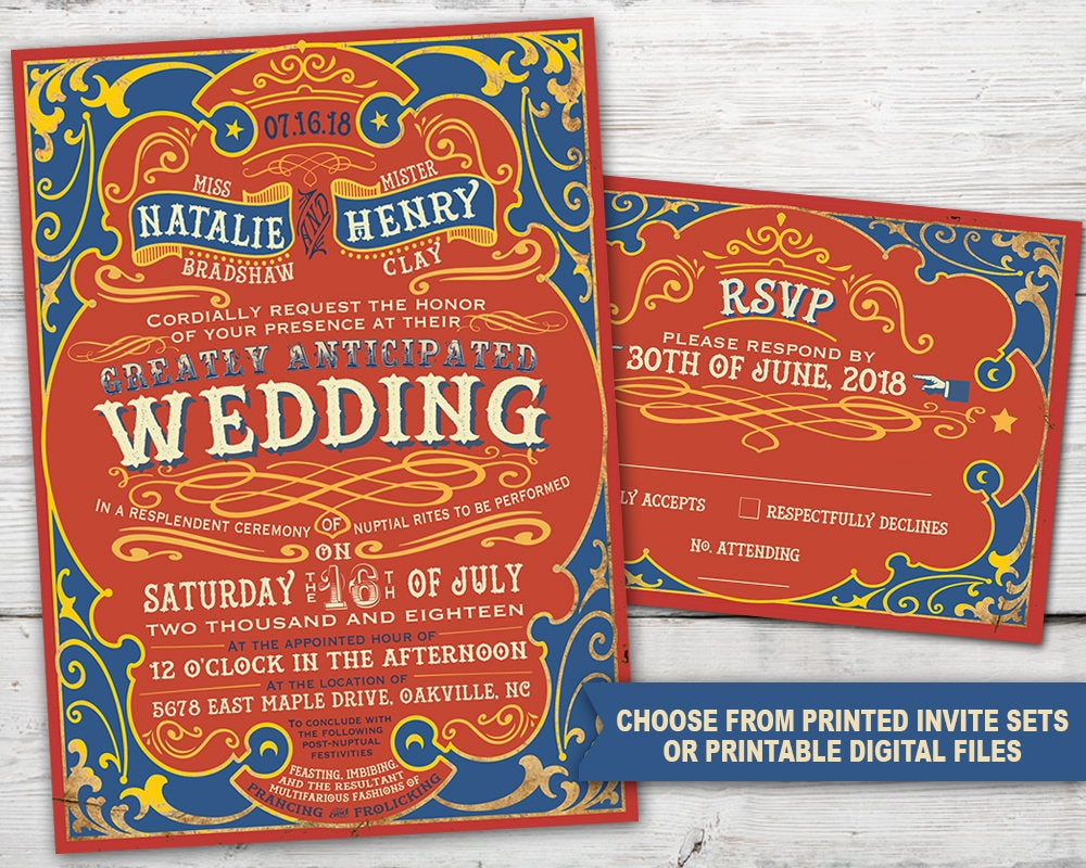 Circus Wedding Invitation Set with Invitation and RSVP Card | Etsy