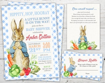 Peter Rabbit Baby Shower Invitation, Peter Rabbit Baby Shower PRINTABLE Invitation set, Peter Rabbit Baby Shower Invite