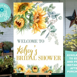 Summer Baby Shower Decor Welcome Sign  Printable Sign 41601 Sunflower Baby Shower Welcome Sign