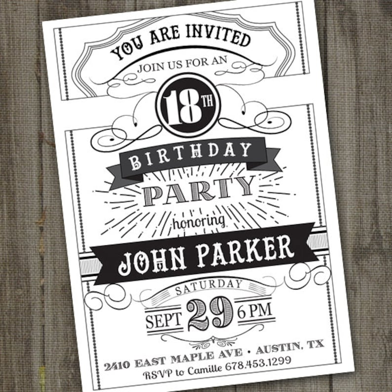 Chalkboard Birthday Invitation For Adult 21st