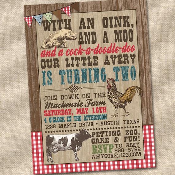 farm birthday invitations farm party invitation barnyard etsy