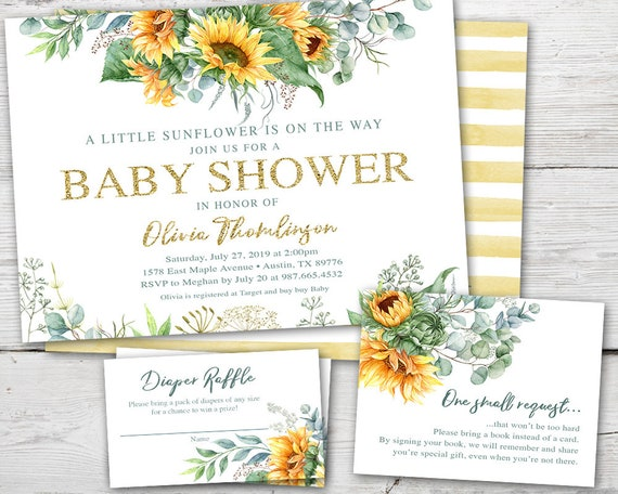 Sunflower Baby Shower Invitation Set Sunflower Baby Shower