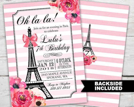 Paris Birthday Invitation Theme