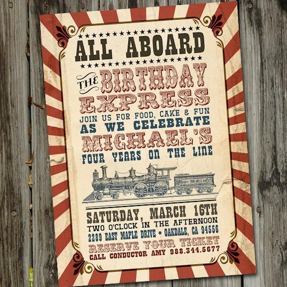 Vintage Train Party Birthday Invitation PRINTABLE