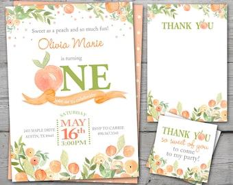 Sweet as a Peach 1st Birthday, Sweet as a Peach Birthday Invitation, Thank you card, Favor Tag and birthday banner PRINTABLE