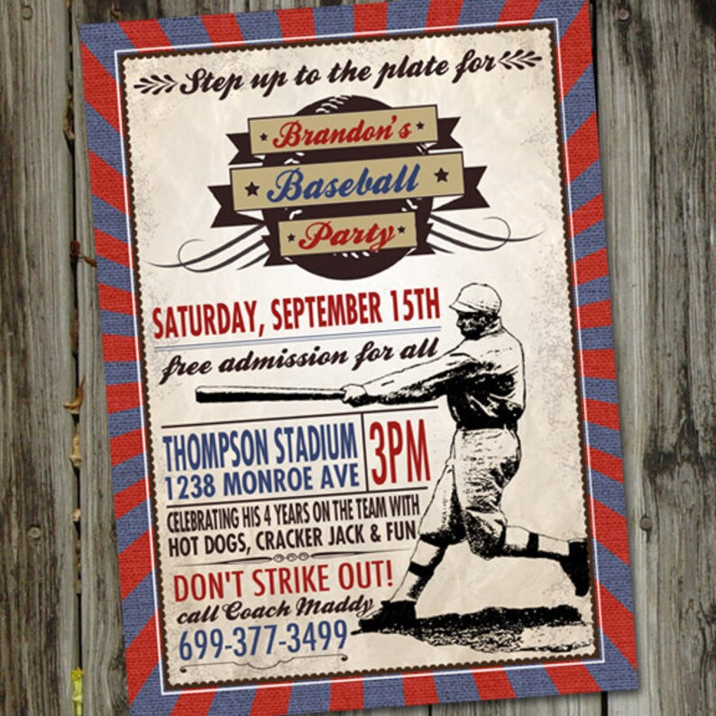 Vintage Baseball Birthday Invitation Party