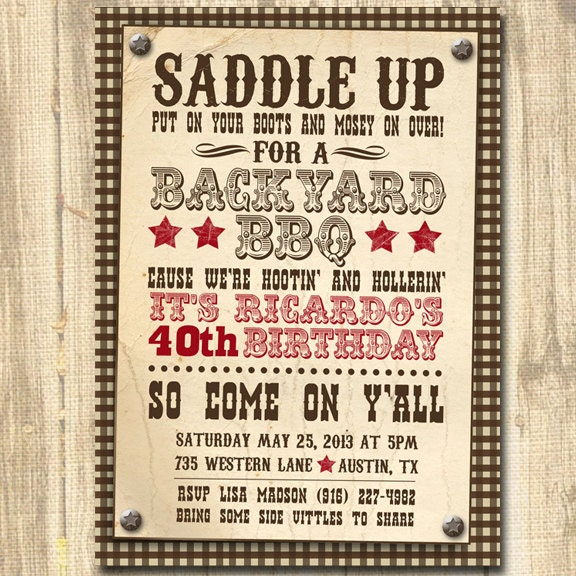 Western Themed Birthday Invitation Theme