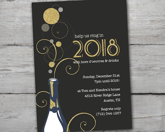 New Years Eve Invitation 2018 Party Invitation New Years